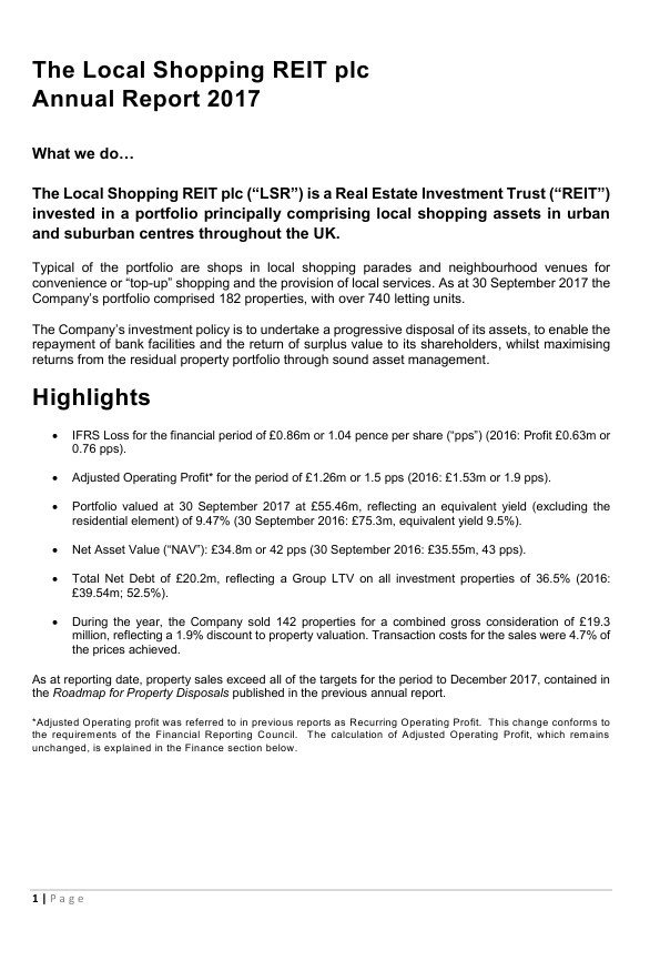 Local Shopping Reit Plc(The)   annual report