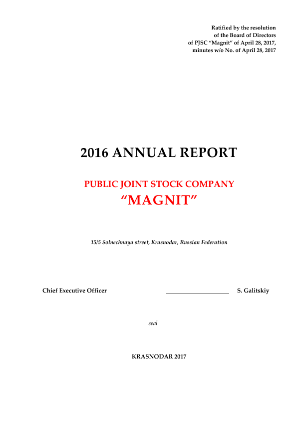 Magnit PJSC   annual report