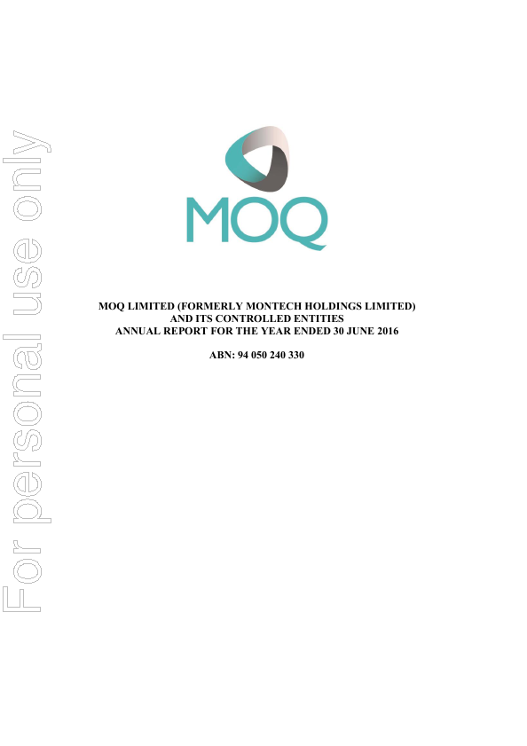 MOQ Limited   annual report