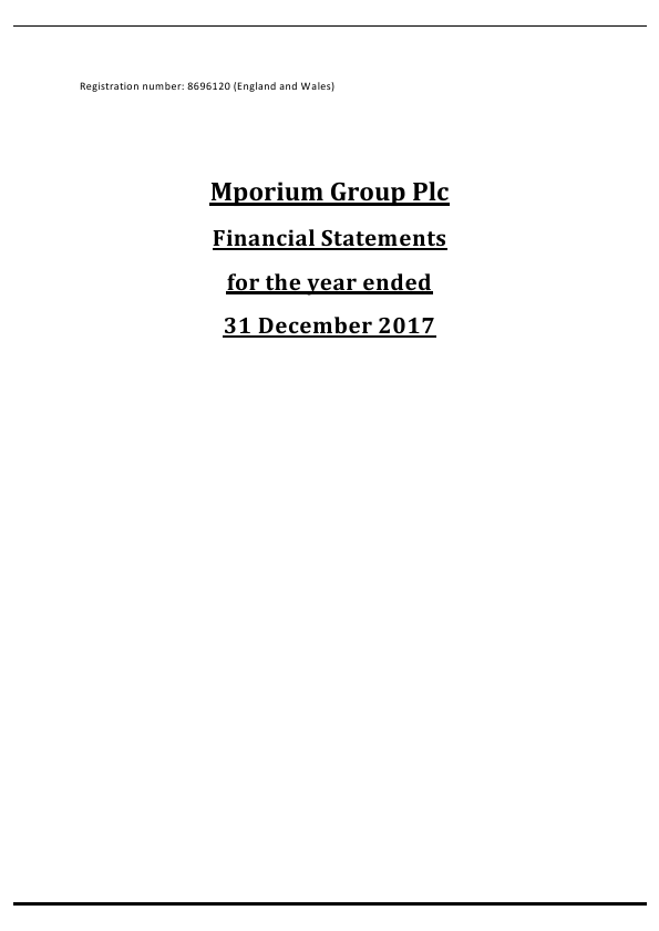 Mporium Group Plc   annual report