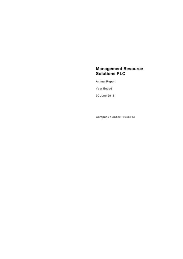 Management Resource Solutions Plc   annual report