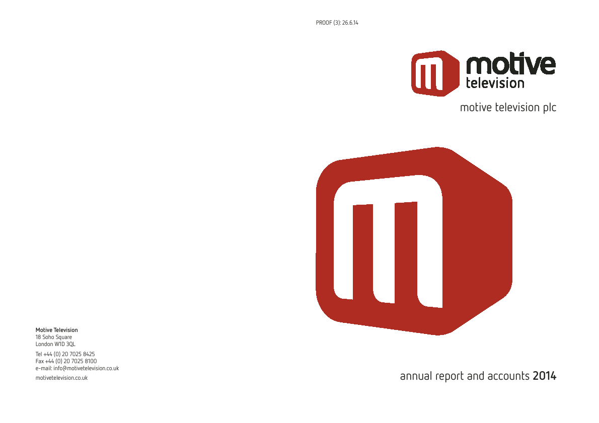 Motive Television   annual report