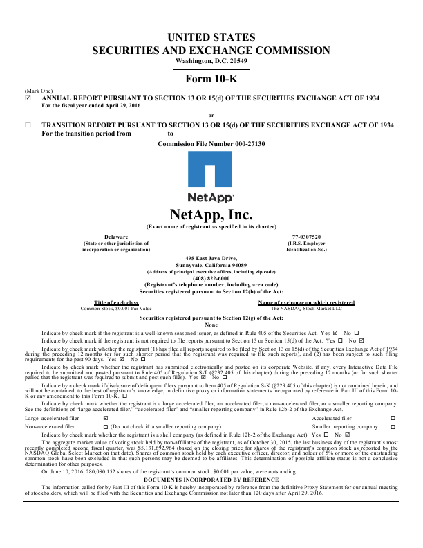 NetApp, Inc.   annual report