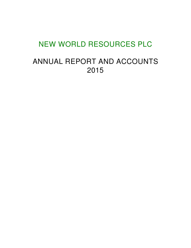 New World Resources Plc   annual report