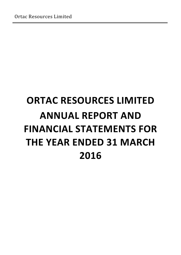Ortac Resources Ltd   annual report