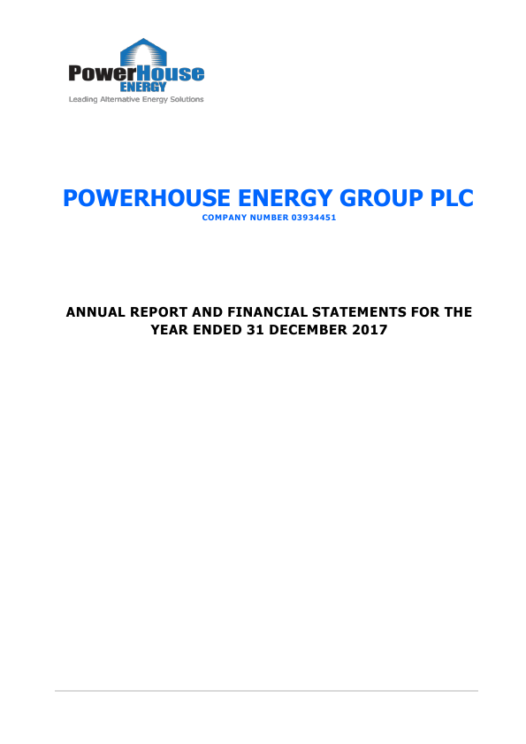Powerhouse Energy Group Plc   annual report