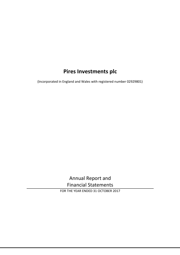 Pires Investments Plc   annual report