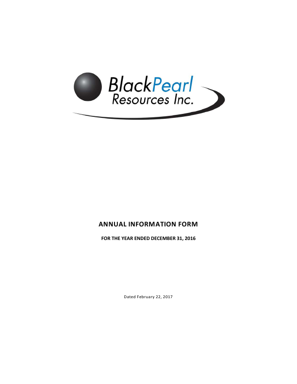 BlackPearl Resources SDB   annual report