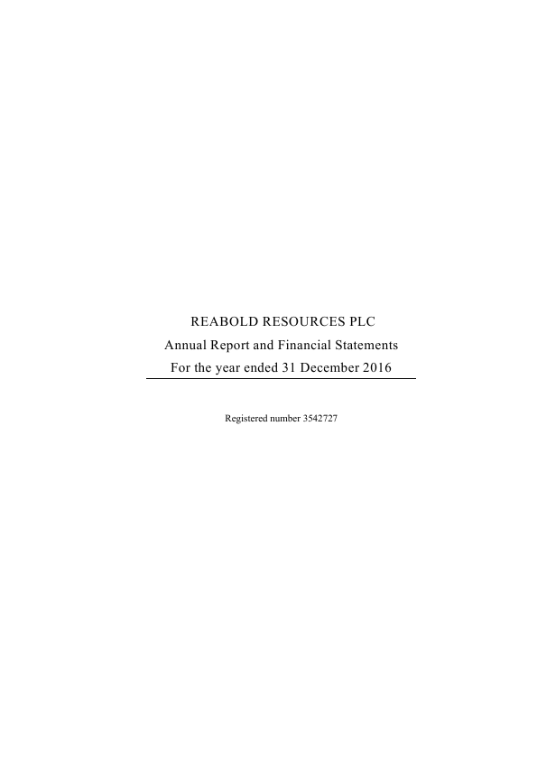 Reabold Resources Plc   annual report