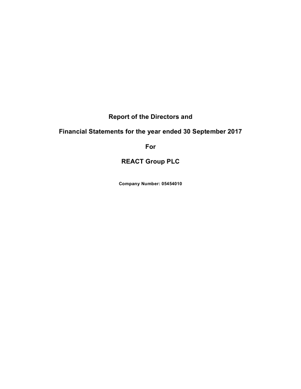 React Group Plc   annual report