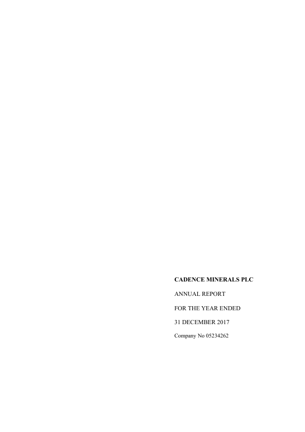 Cadence Minerals (previously Rare Earth Minerals)   annual report