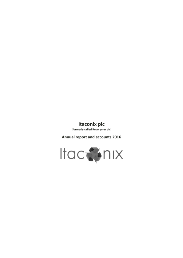 Itaconix (previously Revolymer Plc)   annual report