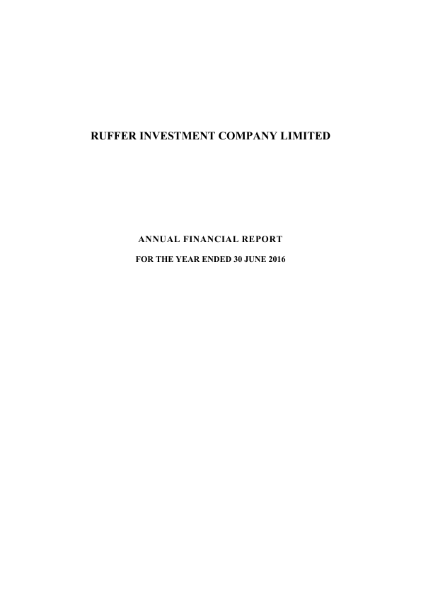 Ruffer Investment Co   annual report
