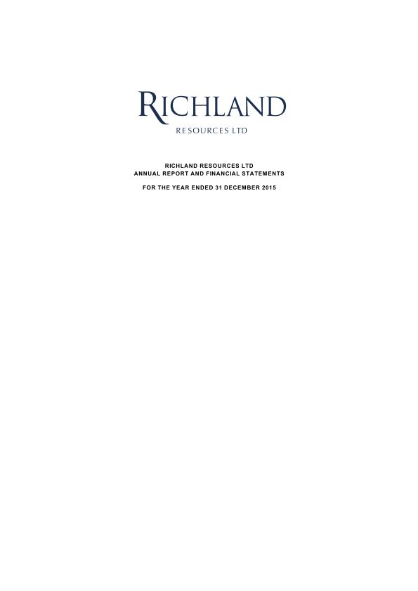 Richland Resources   annual report