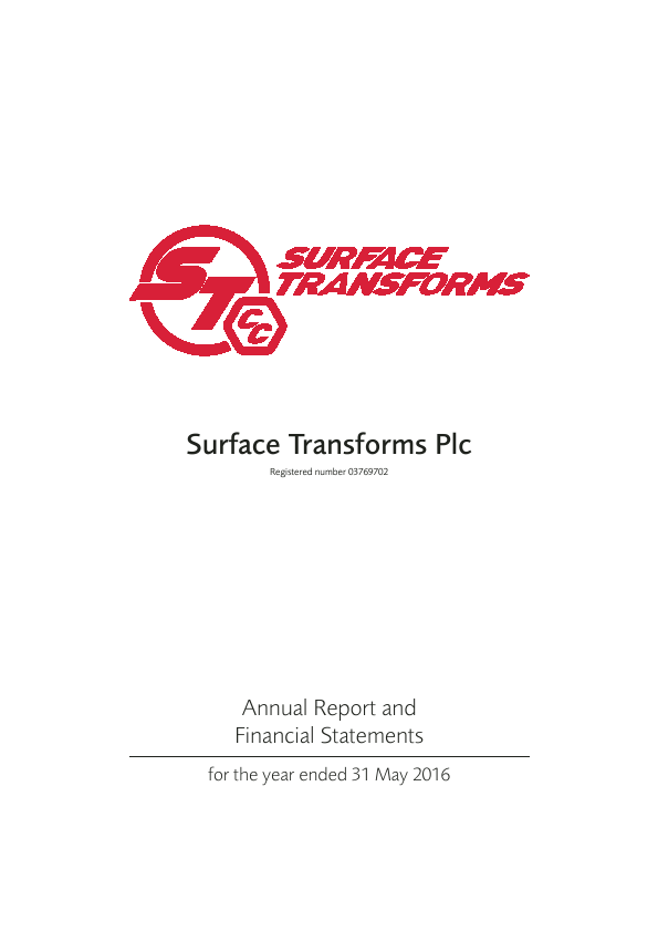 Surface Transforms Plc   annual report