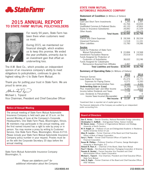 State Farm Insurance Cos   annual report
