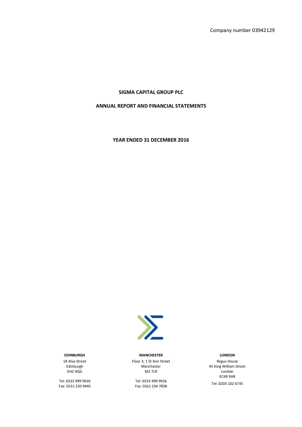 Sigma Capital Group Plc   annual report