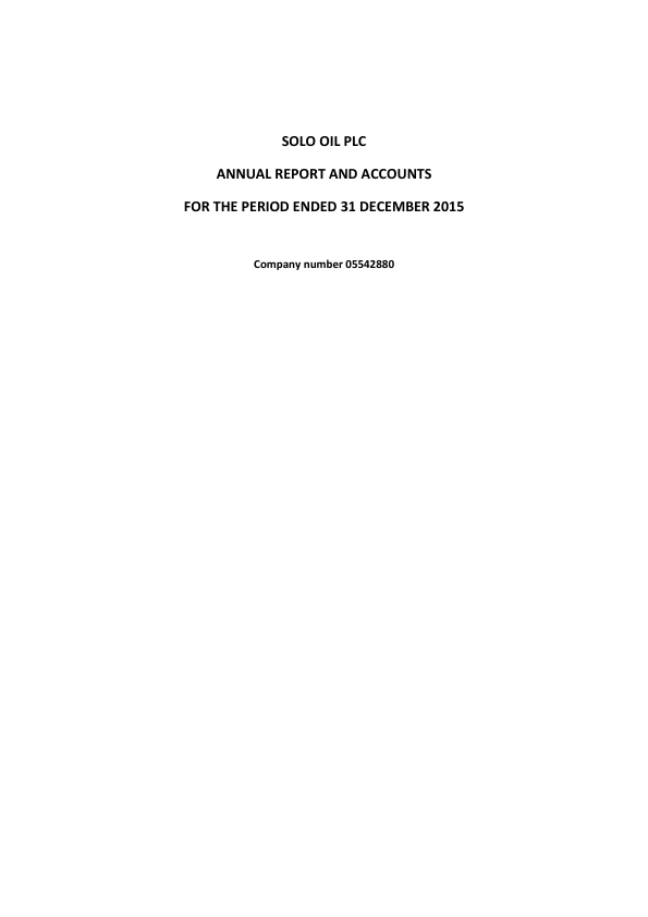 Solo Oil Plc   annual report