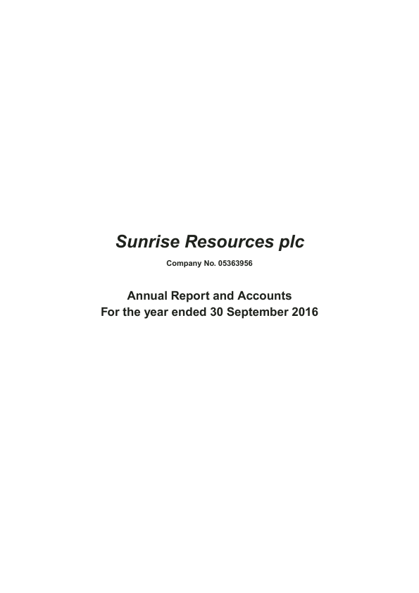 Sunrise Resources Plc   annual report
