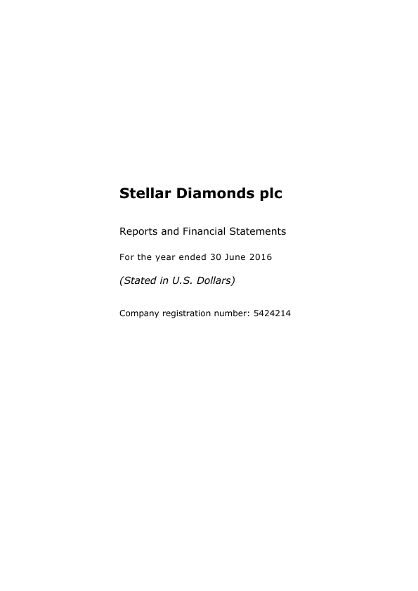 Stellar Diamonds Plc   annual report