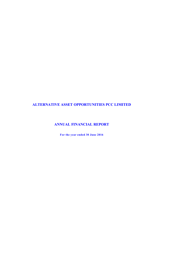 Alternative Asset Opportunities   annual report