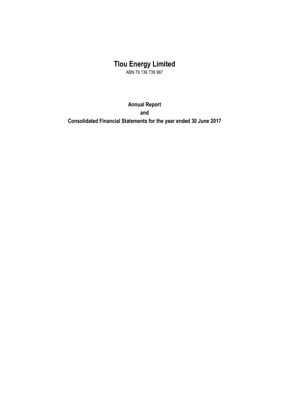 Tlou Energy   annual report
