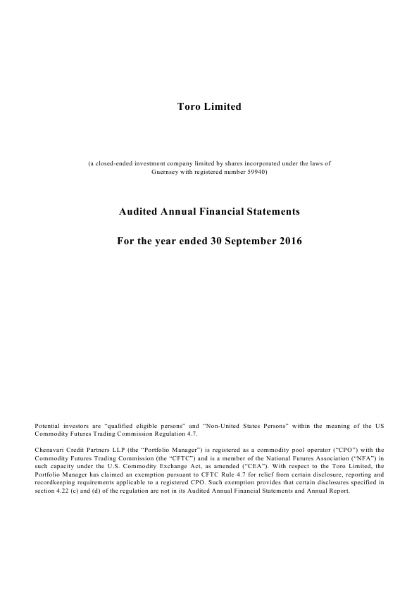 Chenavari Toro Income Fund (Previously Toro )   annual report