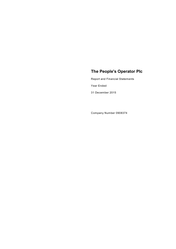 Peoples Operator Plc   annual report