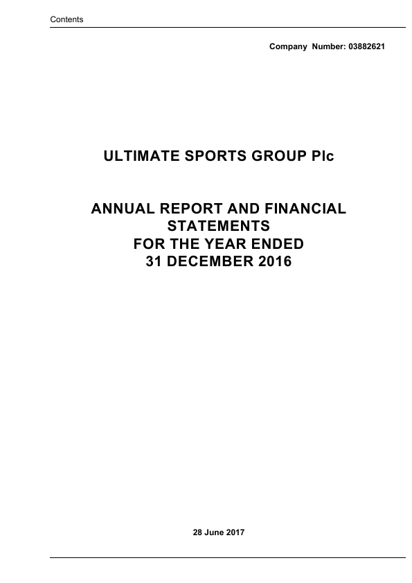 Ultimate Sports Group (Westside Investments Plc)   annual report
