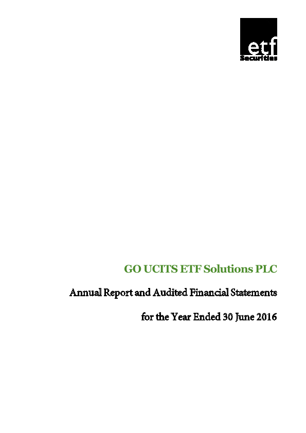 Go Ucits ETF Solutions Plc   annual report