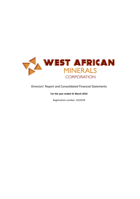 West African Minerals Corp   annual report