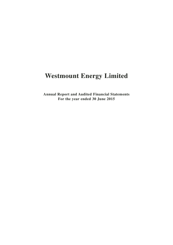 Westmount Energy   annual report