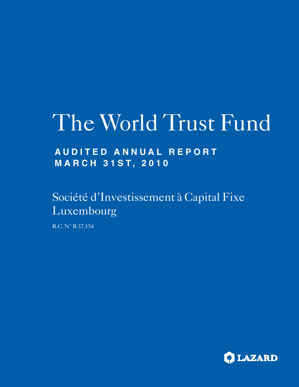 Lazard World Trust Fund (Formally World Trust Fund)   annual report