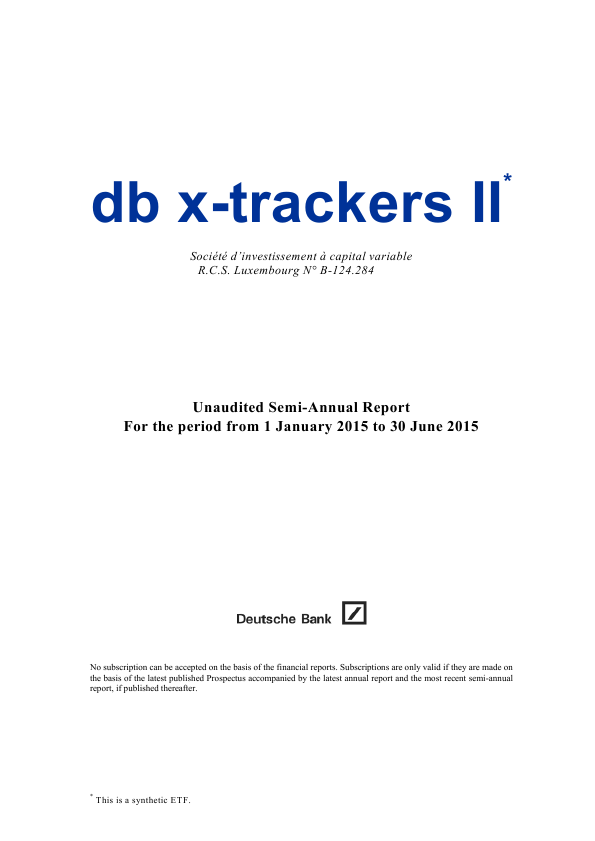 DB X-Trackers II   annual report