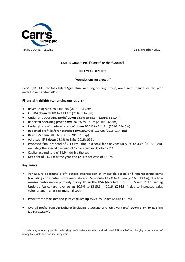 Carrs Group Plc   annual report