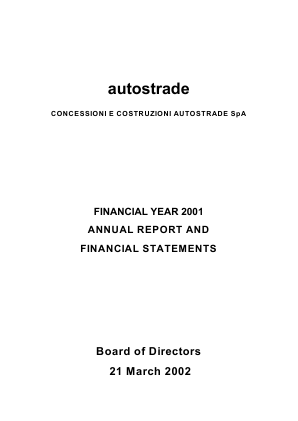 Atlantia annual report 2001