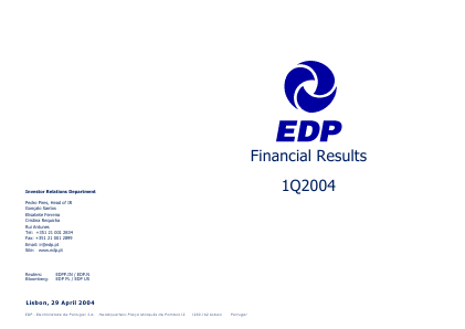 EDP Energias de Portugal annual report 2004