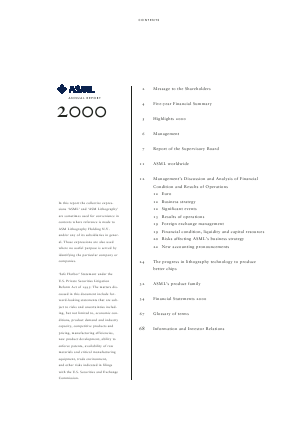 Asml Holding annual report 2000