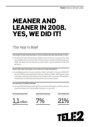 Tele2 annual report 2008