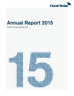 Credit Suisse Group annual report 2015