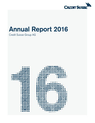 Credit Suisse Group annual report 2016