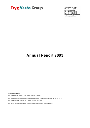 Tryg annual report 2003