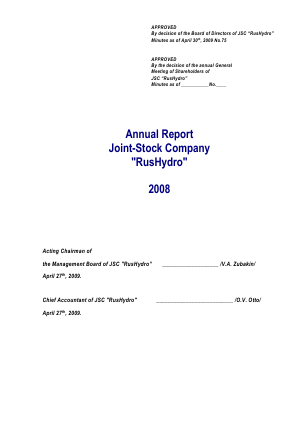 Rushydro annual report 2008