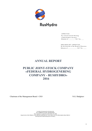 Rushydro annual report 2016