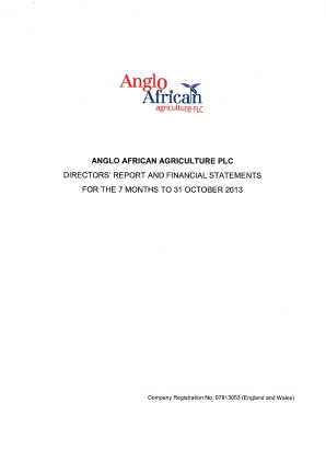 Anglo African Agriculture Plc annual report 2013