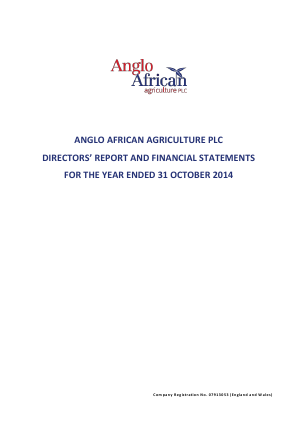 Anglo African Agriculture Plc annual report 2014