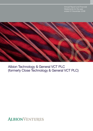 Albion Technology & General VCT Plc annual report 2008