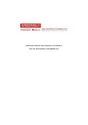 Asia Ceramics Holdings Plc annual report 2013