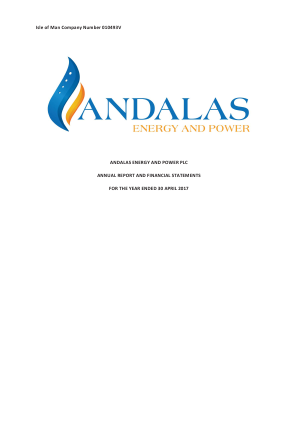 Andalas Energy and Power annual report 2017