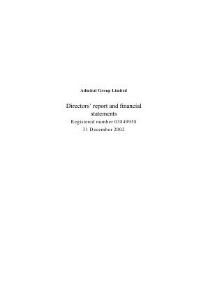 Admiral Group Plc annual report 2002